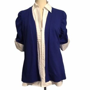 Peter Nygard layered sweater blouse zip med blue